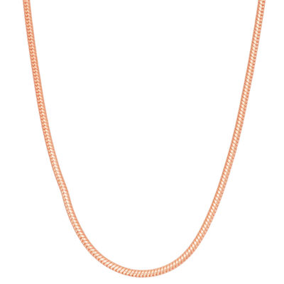 14K Rose Gold Over Silver 16 Inch Solid Snake Chain Necklace