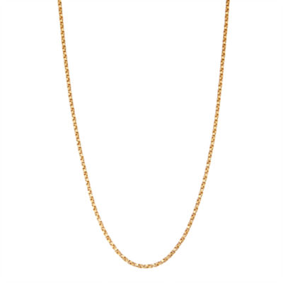 14K Gold Over Silver 16 Inch Solid Box Chain Necklace