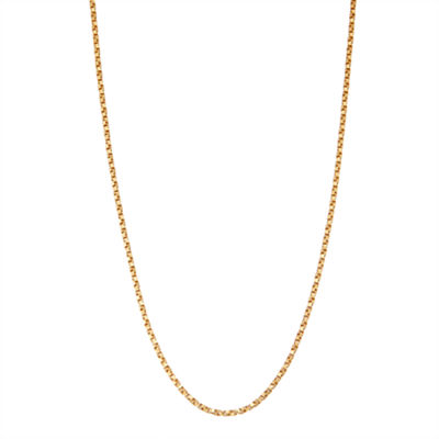 14K Gold Over Silver 18 Inch Solid Box Chain Necklace