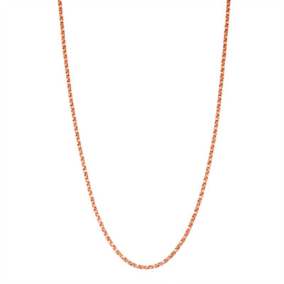 14K Rose Gold Over Silver 16 Inch Solid Box Chain Necklace