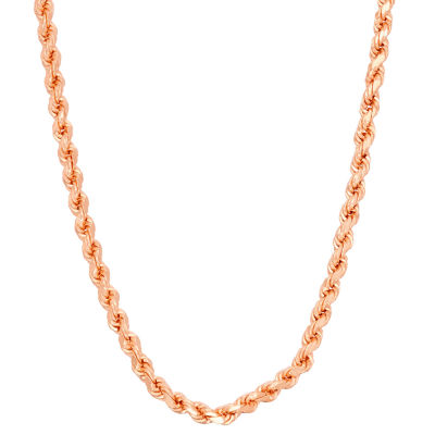 14K Rose Gold Over Silver 16 Inch Solid Rope Chain Necklace