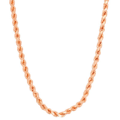 14K Rose Gold Over Silver 18 Inch Solid Rope Chain Necklace