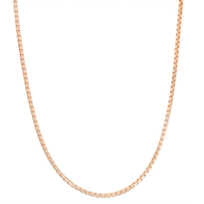 14K Rose Gold Over Silver 24 Inch Solid Box Chain Necklace