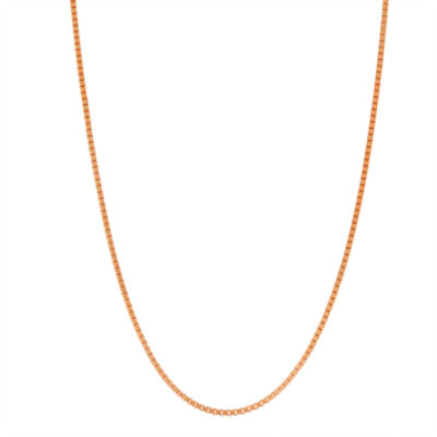 14K Rose Gold Over Silver 18 Inch Solid Box Chain Necklace