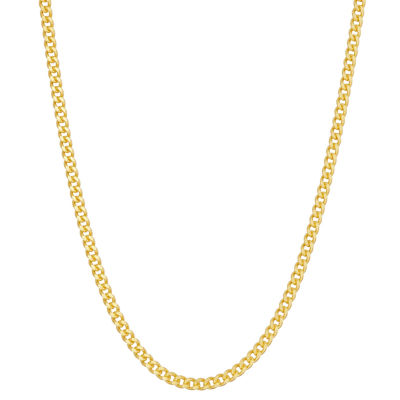 14K Gold Over Silver 18 Inch Solid Curb Chain Necklace
