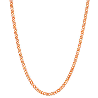 14K Rose Gold Over Silver 20 Inch Solid Curb Chain Necklace