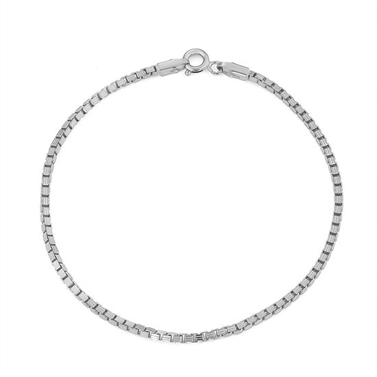 Sterling Silver 7.5 Inch Solid Box Chain Bracelet