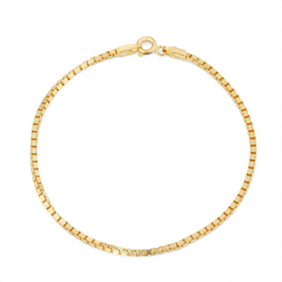 14K Gold Over Silver 7.5 Inch Solid Box Chain Bracelet