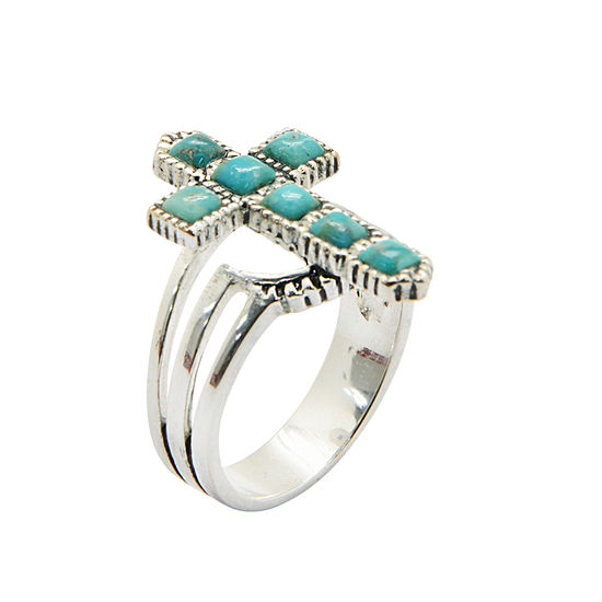 Silver Elements by Barse Womens Lab Created Blue Turquoise Cross Cocktail Ring