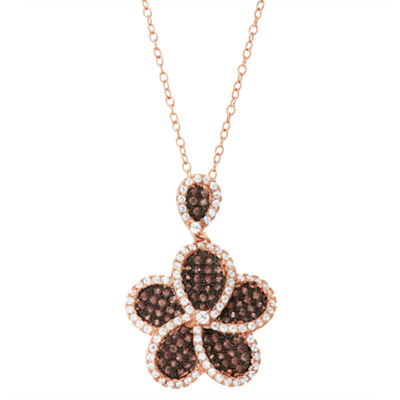 Womens 7/8 CT. T.W. Brown Cubic Zirconia 14K Rose Gold Over Silver Round Pendant Necklace