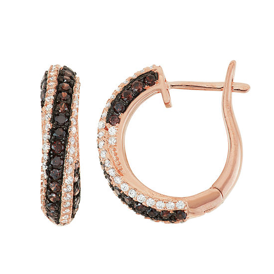 1 1/3 CT. T.W. Brown Cubic Zirconia 14K Rose Gold Over Silver 18.5mm Round Hoop Earrings