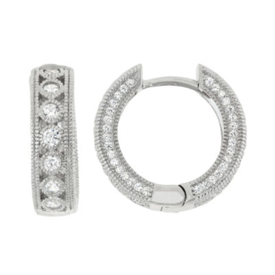 1 3/4 CT. T.W. White Cubic Zirconia Sterling Silver 18.5mm Round Hoop Earrings