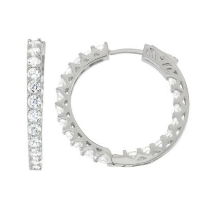 2 1/3 CT. T.W. White Cubic Zirconia Sterling Silver 25mm Round Hoop Earrings