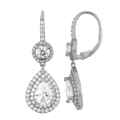 4 CT. T.W. White Cubic Zirconia Sterling Silver Clip On Earrings