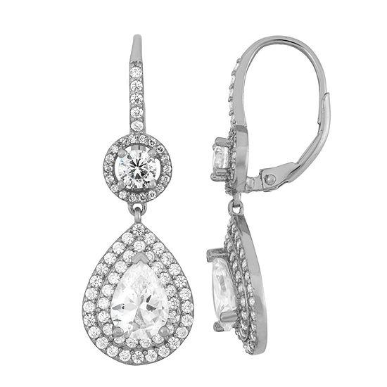 4 CT. T.W. White Cubic Zirconia Sterling Silver Clip On Earrings