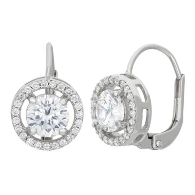 2 CT. T.W. White Cubic Zirconia Sterling Silver Clip On Earrings