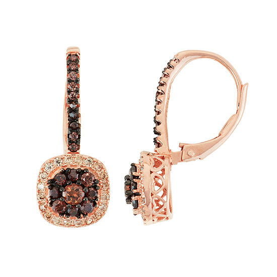 5/8 CT. T.W. Brown Cubic Zirconia 14K Rose Gold Over Silver Clip On Earrings