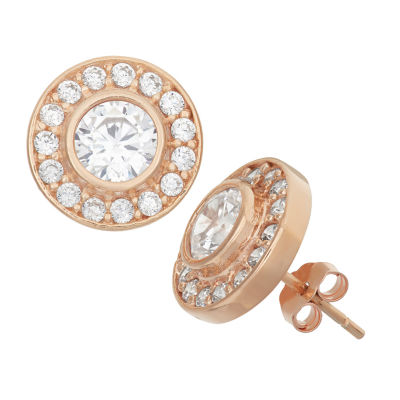 1 7/8 Ct. T.W. White Cubic Zirconia 14K Rose Gold Over Silver 5.5mm Stud Earrings