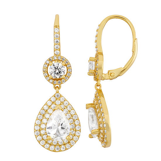 4 CT. T.W. White Cubic Zirconia 14K Gold Over Silver Clip On Earrings