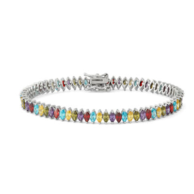 Multi Color Cubic Zirconia Sterling Silver 7.5 Inch Tennis Bracelet