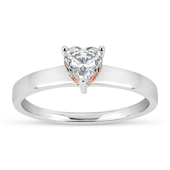 Sterling Silver & 18k Rose Gold Over Silver Heart Cut 1 1/10 Ct. T.W. Solitaire Ring - Featuring Swarovski Zirconia