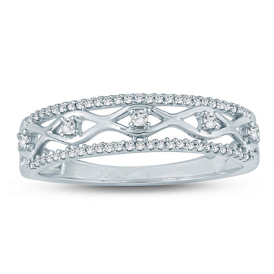 Womens 2MM 1/6 CT. T.W. White Diamond Sterling Silver Band