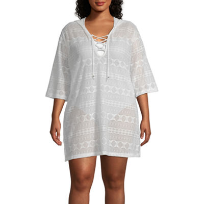 Porto Cruz Geometric Knit Swimsuit Cover-Up Dress-Plus