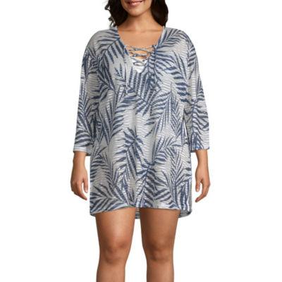 Porto Cruz Leaf Knit Swimsuit Cover-Up Dress-Plus