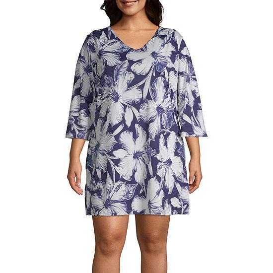 1b847d1642 Porto Cruz Floral Knit Swimsuit Cover-Up Dress-Plus - JCPenney