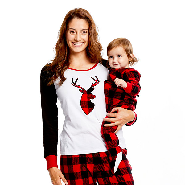 Holiday #Famjams Red Black Buffalo Check 1 Piece Footed Pajama -Baby Unisex