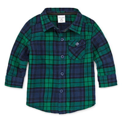 Okie Dokie Green Plaid Long Sleeve Button-Front Shirt - Baby Boy 3M-24M