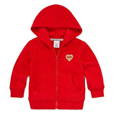Okie Dokie Full Zip-Up Fleece Hoodie - Baby Girl NB-24M