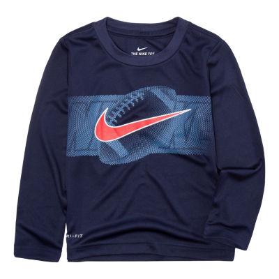 Nike Long Sleeve Round Neck T-Shirt-Toddler Boys