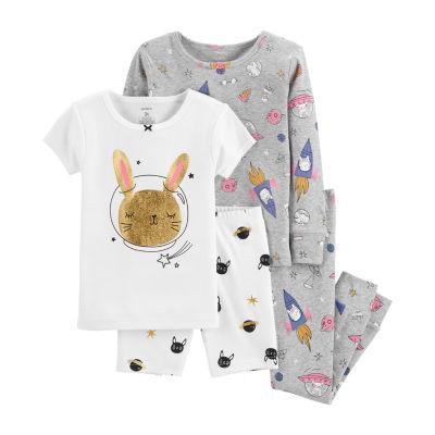 Carter's 4pc Space Bunny Pajama Set- Baby Girl