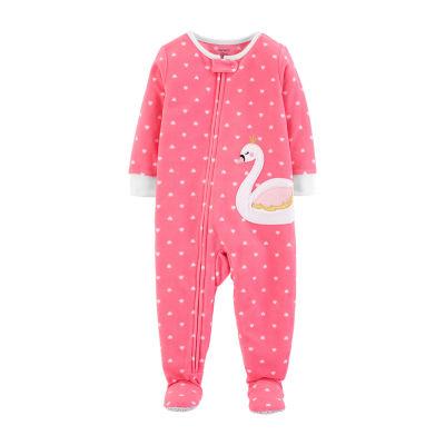 Carter's Girls Fleece One Piece Pajama Long Sleeve Round Neck