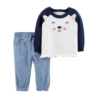 Carter's 2pc Bear Top & Pant Set- Baby Girl