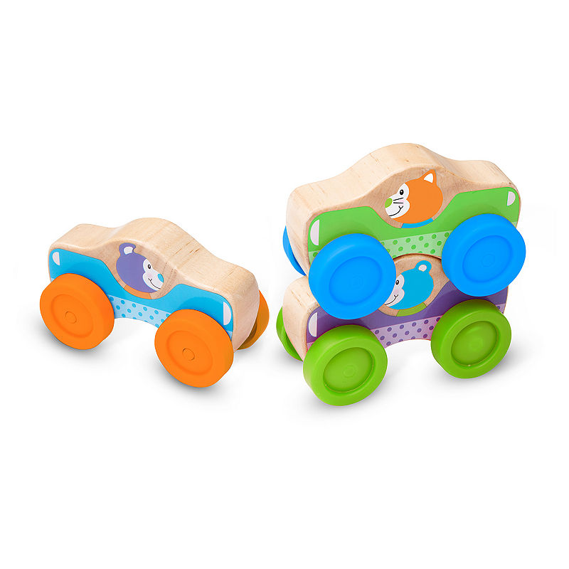 Melissa & Doug First Play Wooden Animal Stacking Cars, Unisex, Multi, One Size