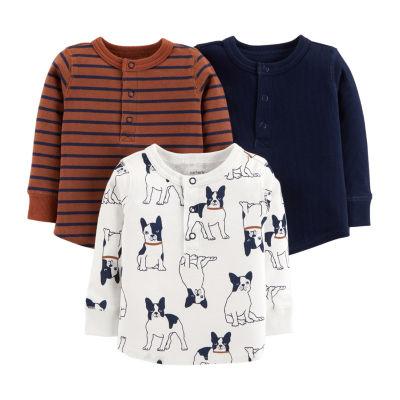 Carter's 3pc Long Sleeve Henley Shirts - Baby Boy