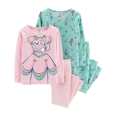 Carter's 4-Pc. Glitter Princess Cotton Pajama Set - Toddler Girls
