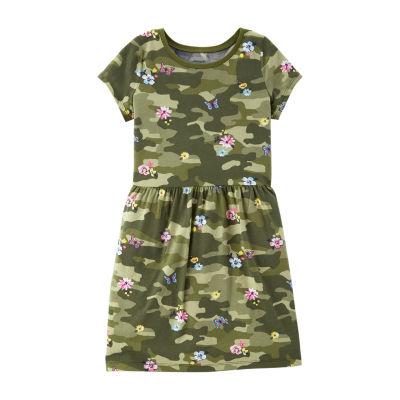 Carter's Short Sleeve Floral Camo A-Line Dress - Girls
