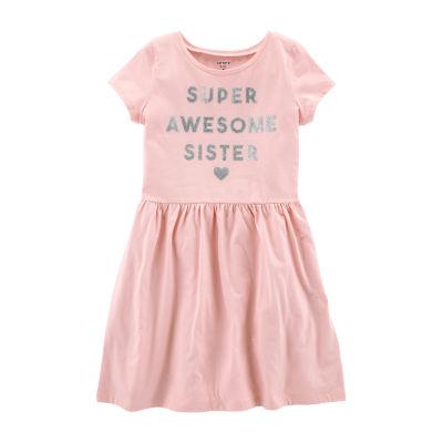 Carter's Short Sleeve Awesome A-Line Dress -  Girls