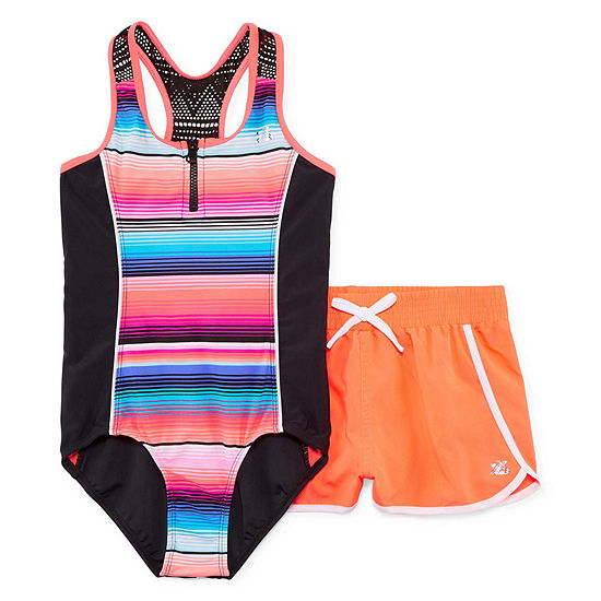 Zeroxposur Stripe 1pc. Swimsuit with Matching Shorts - Girls 7-16 & Plus