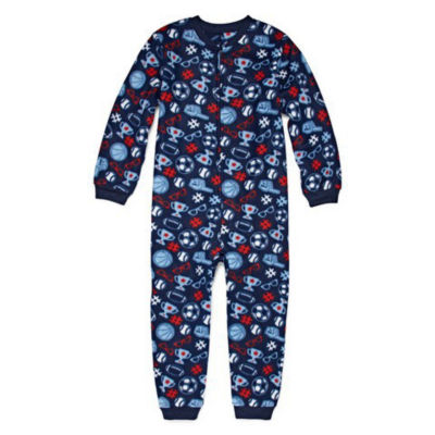 Arizona Boys Microfleece One Piece Pajama Long Sleeve