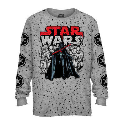 Boys Crew Neck Long Sleeve Star Wars Graphic T-Shirt Preschool / Big Kid