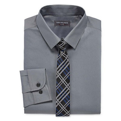 Van Heusen Shirt + Tie Set Boys 8-20 Regular & Husky