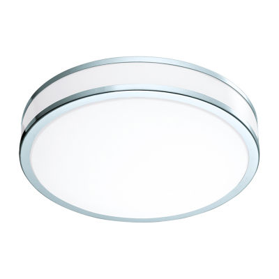 Eglo Palermo II LED 16 inch Chrome and White FlushMount Ceiling Light