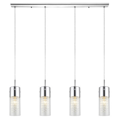Eglo Diamond 4-Light 40 inch Chrome Trestle Hanging Light Ceiling Light