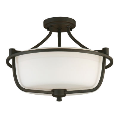 Eglo Mayview 3-Light 16 inch Matte Bronze Semi Flush Mount Ceiling Light