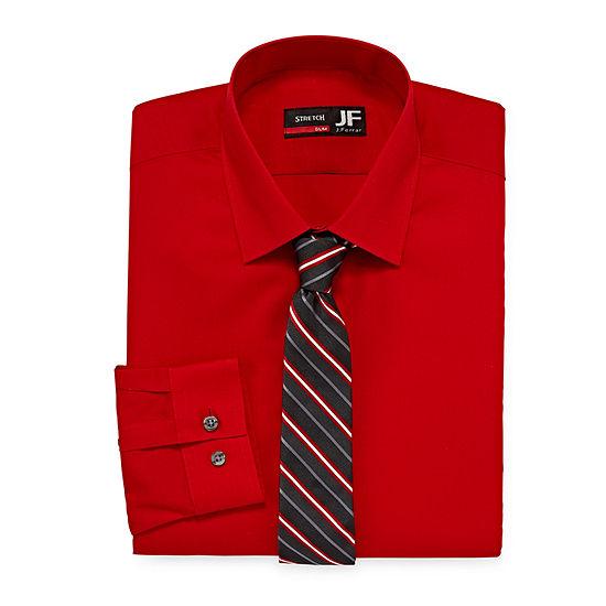 JF J.Ferrar Slim Fit Dress Shirt And Tie Set
