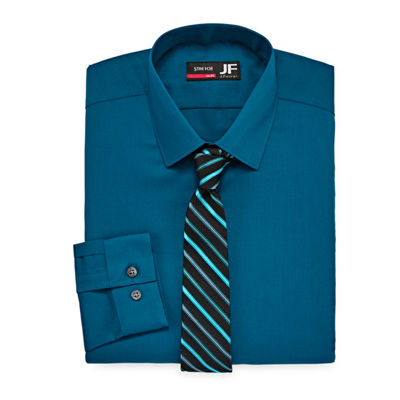 JF J.Ferrar Slim Fit Dress Shirt And Tie Set